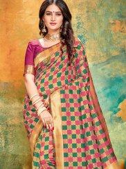 Art Banarasi Silk Printed Pink Printed Saree