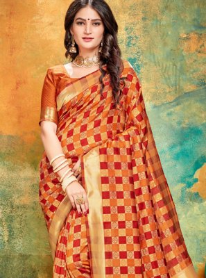 Art Banarasi Silk Printed Printed Saree in Orange and Red