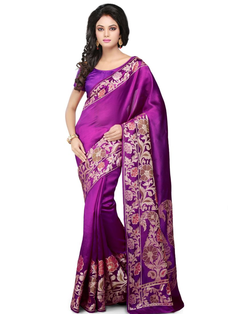 Art Banarasi Silk Purple Designer Traditional Saree