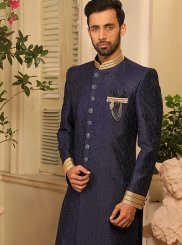 Art Banarasi Silk Sherwani in Blue