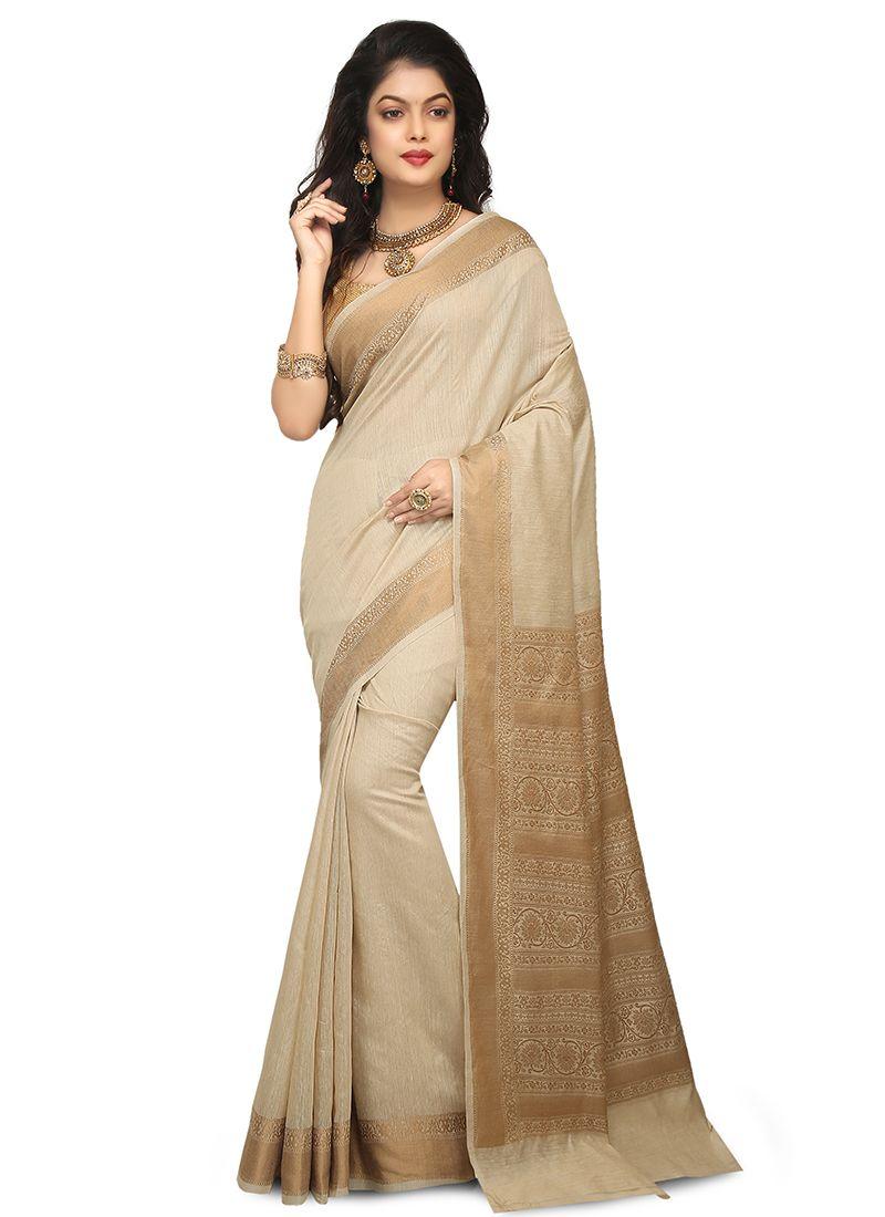 Art Banarasi Silk Thread Work Beige Designer Traditional Saree