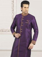 Art Banarasi Silk Violet Indo Western