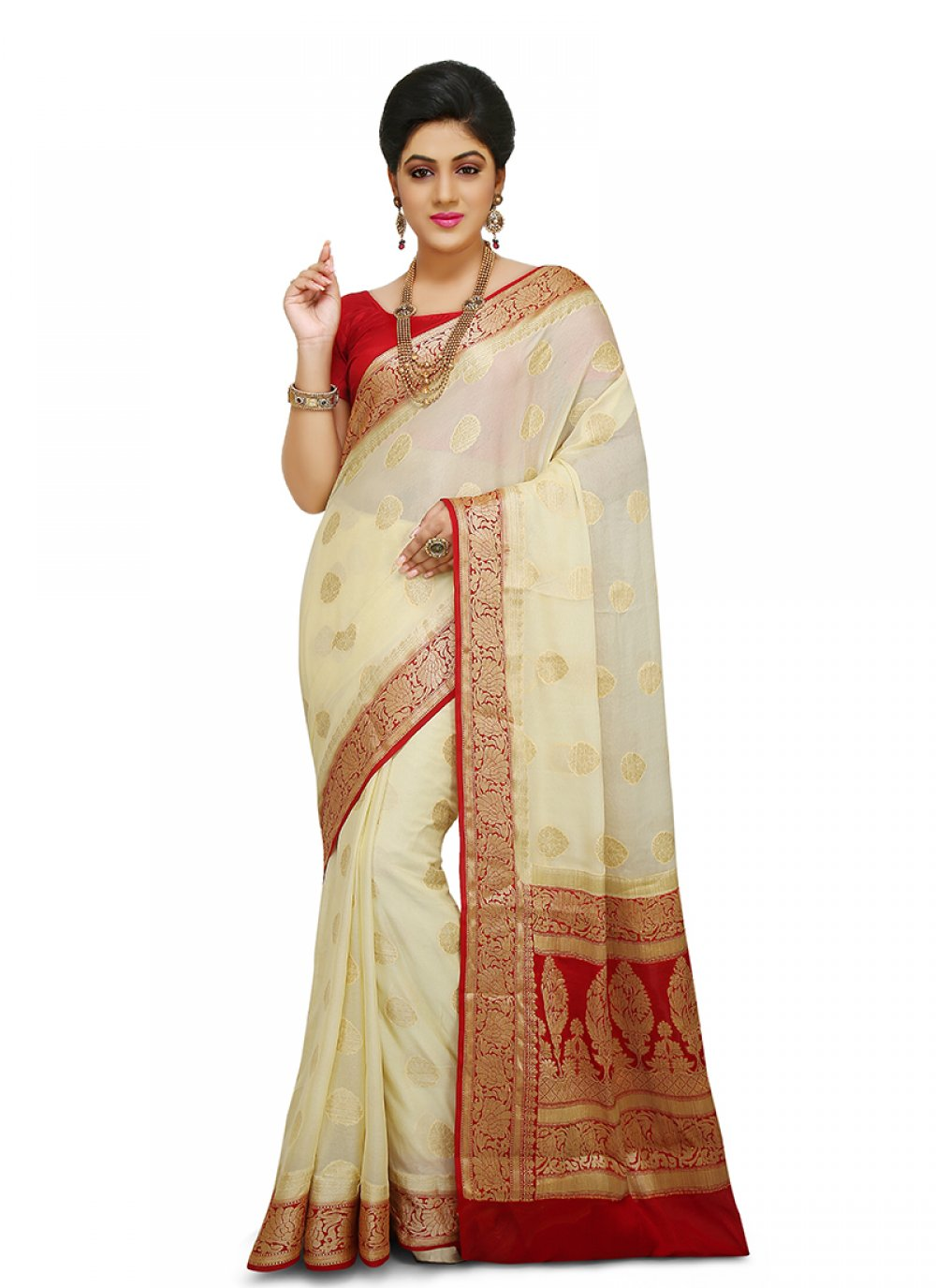 Art Banarasi Silk Weaving Off White Designer Traditional Saree
