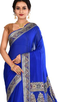 Art Banarasi Silk Weaving Blue Designer Traditional Saree