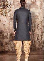Art Dupion Silk Black Embroidered Indo Western