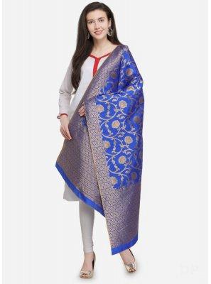 Art Dupion Silk Blue Designer Dupatta