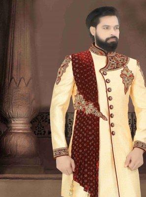 Art Dupion Silk Cream Embroidered Indo Western Sherwani