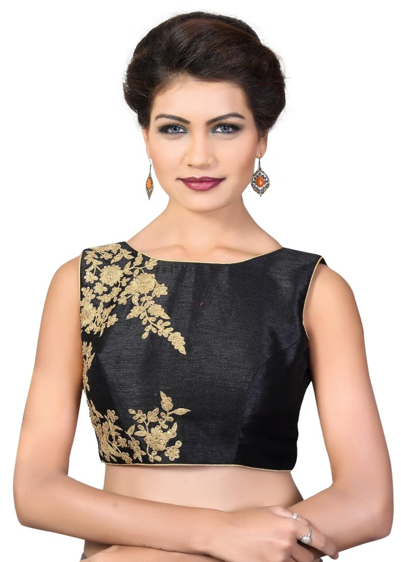 26601be8fc Buy Art Dupion Silk Embroidered Black Designer Blouse Online -