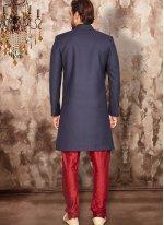 Art Dupion Silk Embroidered Blue Indo Western
