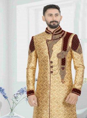 Art Dupion Silk Embroidered Gold Indo Western Sherwani