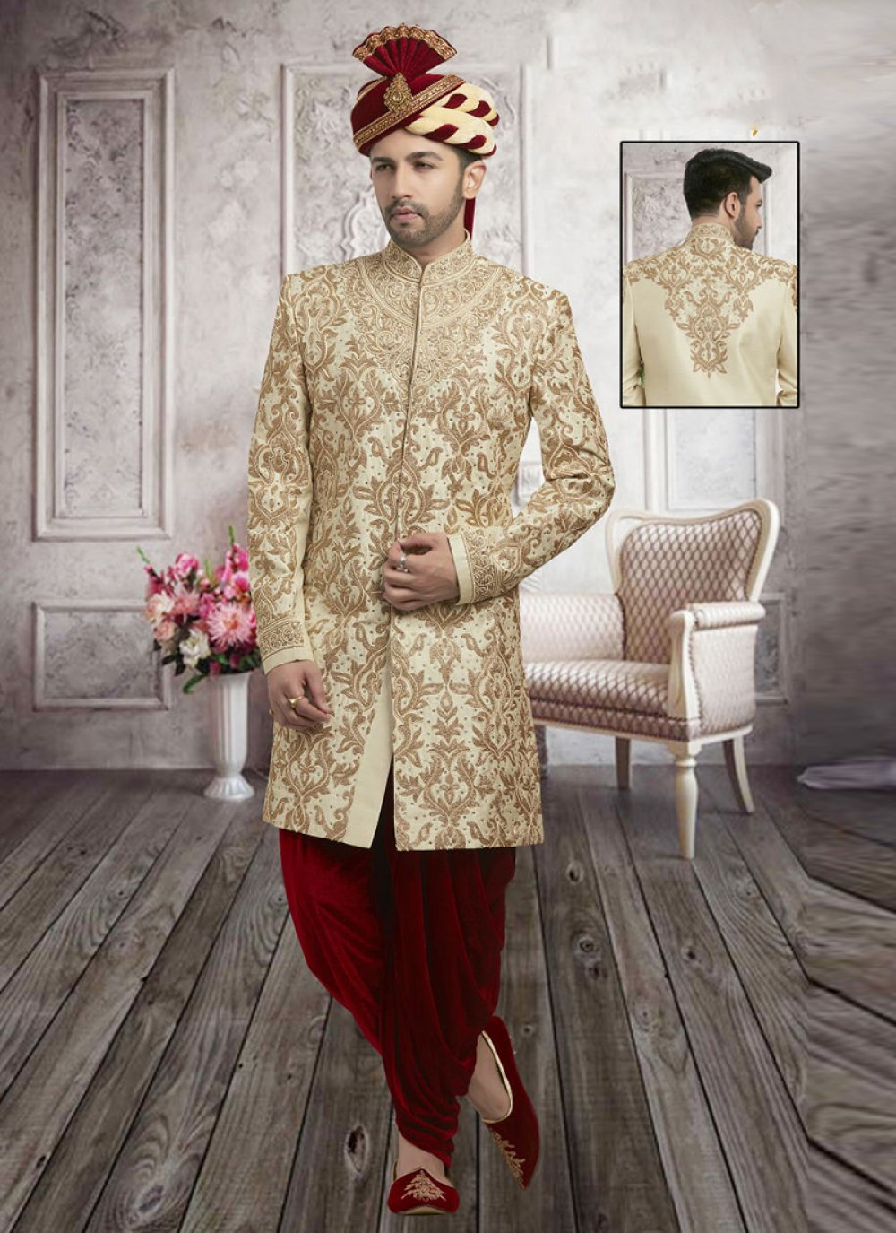 Art Dupion Silk Embroidered Sherwani in Cream