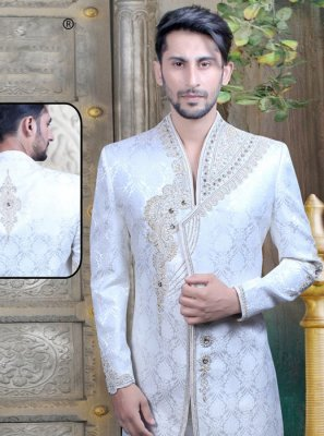 Art Dupion Silk Embroidered Sherwani in White