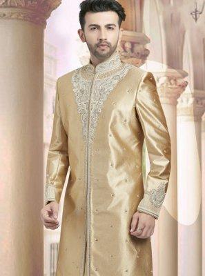 Art Dupion Silk Gold Embroidered Sherwani