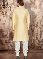 Art Dupion Silk Indo Western in Yellow