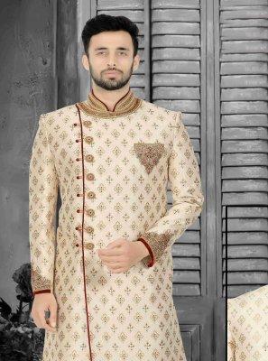 Art Dupion Silk Indo Western Sherwani in Cream