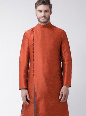 Art Dupion Silk Kurta Pyjama in Rust