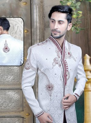Art Dupion Silk Off White Sherwani
