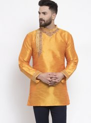 Art Dupion Silk Orange Machine Embroidery  Kurta