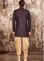 Art Dupion Silk Purple Embroidered Indo Western