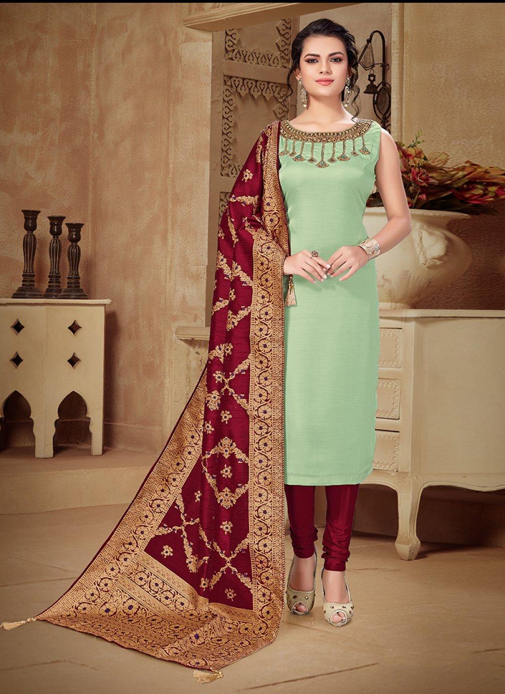 Art Raw Silk Beige Embroidered Churidar Designer Suit