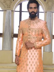 Art Raw Silk Handwork Sherwani in Peach