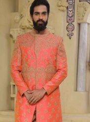 Art Raw Silk Indo Western in Peach