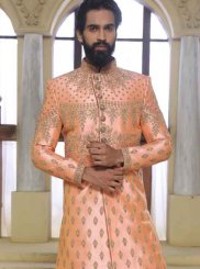 Art Raw Silk Peach Indo Western