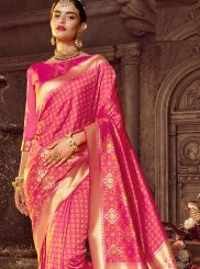 Art Raw Silk Pink Stone Work Classic Designer Saree