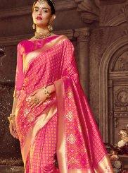 Art Raw Silk Pink Stone Work Classic Designer Saree
