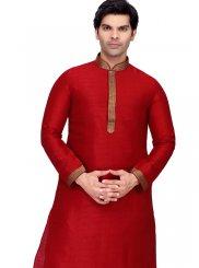 Art Raw Silk Plain Kurta Payjama With Jacket in Red