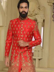 Art Raw Silk Red Embroidered Indo Western