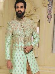 Art Raw Silk Sherwani in Brown