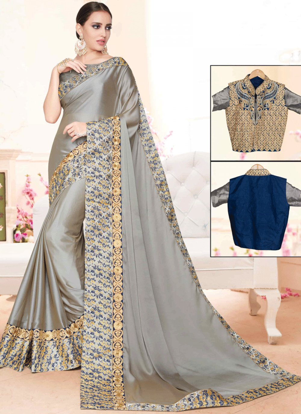 Art Silk Aari Work Classic Designer Saree