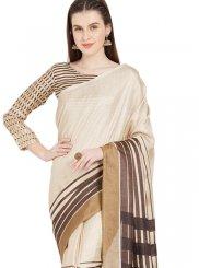 Art Silk Abstract Print Casual Saree in Multi Colour