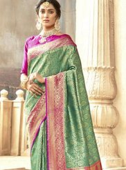 Art Silk Abstract Print Green Traditional Saree