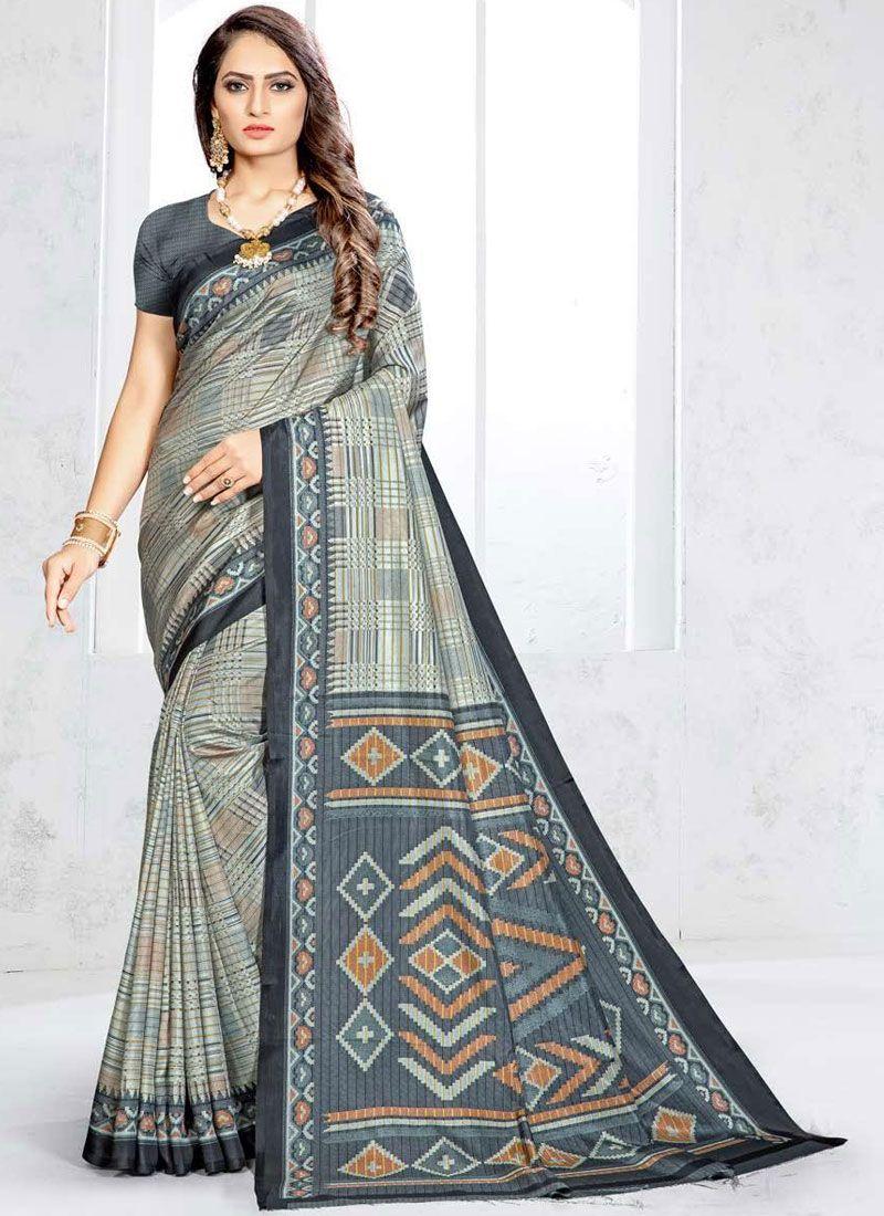 Art Silk Abstract Print Grey Traditional Saree