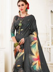 Art Silk Abstract Print Multi Colour Printed Saree