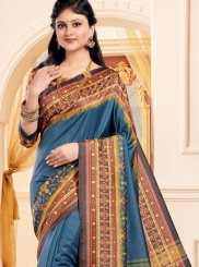 Art Silk Abstract Print Multi Colour Traditional Saree