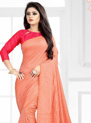 Art Silk Abstract Print Peach Traditional Saree