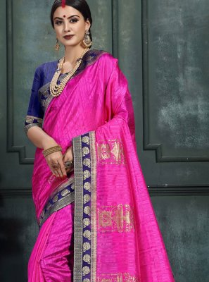 Art Silk Abstract Print Pink Designer Saree