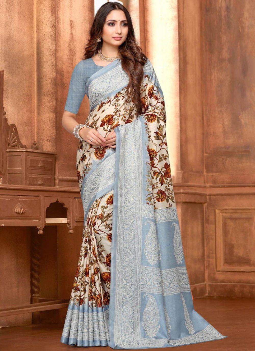 Art Silk Abstract Print Printed Saree in Multi Colour