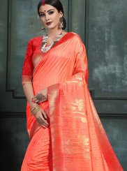 Art Silk Abstract Print Red Designer Saree
