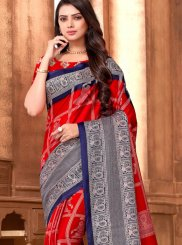 Art Silk Abstract Print Red Printed Saree