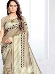 Art Silk Abstract Print Traditional Saree in Multi Colour