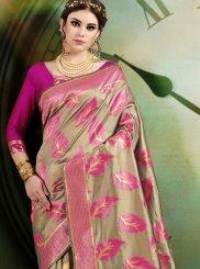 Art Silk Beige and Pink Designer Half N Half Saree