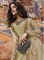 Art Silk Beige Designer Salwar Kameez