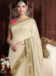 Art Silk Beige Designer Saree