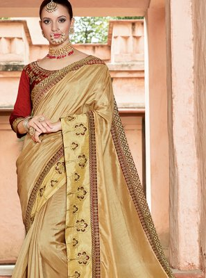 Art Silk Beige Embroidered Traditional Designer Saree