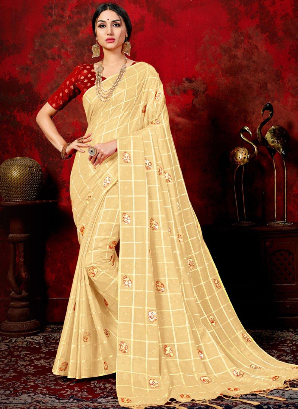 Art Silk Beige Fancy Designer Traditional Saree