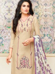 Art Silk Beige Print Churidar Designer Suit
